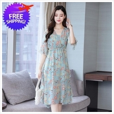 Women Loose Fit Chiffon Floral Dress