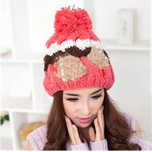 CUTE PEARL EMBELLISHED BOWKNOT DECORATION MULTICOLOR BEANIE HAT FOR WOMEN (COL