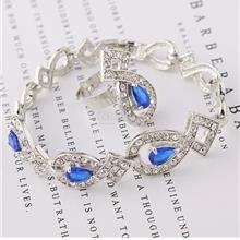 Blue Beads Rhinestone Wedding Jewelry Set