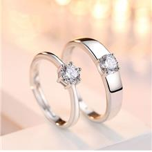 Marry Me S925 Silver Rhinestone Couple Rings