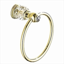 [From USA]AUSWIND European Gold Polished Crystal Towel Rings Brass Wall Mounte