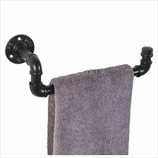 [From USA]MyGift Industrial Black Metal Pipe Wall Mounted Hand Towel Bar 12.5