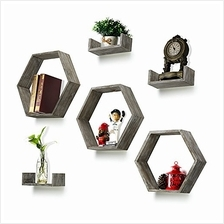 [From USA]RR ROUND RICH DESIGN Wall Shelf Set of 6 - Rustic Wood 3 Hexagon Box