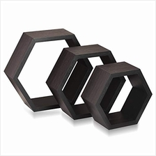 [From USA]Halter Hexagonal Shaped Floating Shelves (Brown) for Wall/Room Decor