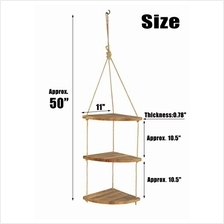 [From USA]AddGrace 3 Tier Corner Shelf Wood Floating Shelves Rope Hanging for