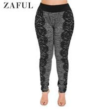 Plus Size 3D Lace Print Marled Leggings (Black)