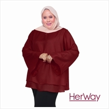 HERWAY PLUS SIZE Women Layer Blouse HW9062 (Maroon)