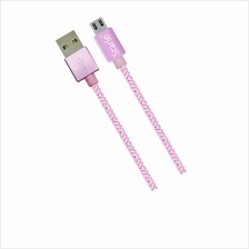 STARLO NYLON MICRO USB LIGHTNING DATA CABLE (PINK)