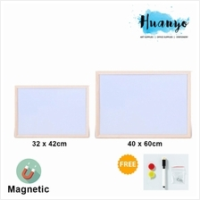 Natural Wooden Frame Portable Magnetic White Board 32 x 42/40 X 60CM