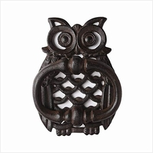 [From USA]PopTop Brass Cast Iron Antique Style Rustic OWL Door Knocker Finish