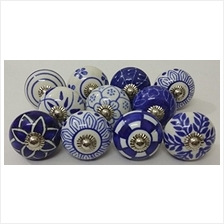 [From USA]10 Blue and White Hand Painted Ceramic Knobs Cabinet Knobs Kitchen C