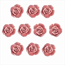[From USA]eoocvt 10pcs Ceramic Vintage Floral Rose Flower Door Knobs Handle Dr