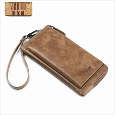 Pabojoe Genuine Cowhide Leather Men Long Wallet Bag Brown Latest 2016