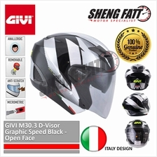 GIVI M30.3 D-Visor Graphic Speed Black - Open Face Helmet Motorcycle [)