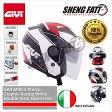 GIVI M30.2 Presto Graphic Racing White - Double Visor Open Face Helmet)