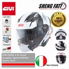 GIVI M30.3 D-Visor Graphic Speed White - Open Face Helmet Motorcycle [)