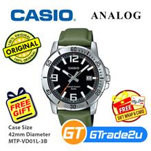 [READY STOCK]Casio Men MTP-VD01L-3B Green Analog Watch