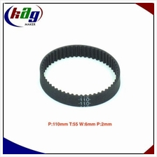 GT2 Timing Belt Closed Loop Perim:110mm Teeth:55 Width:6mm Pitch:2mm