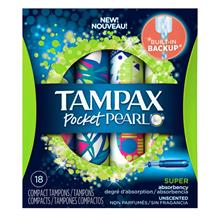 TAMPAX Pocket Pearl Super Unscented 18s