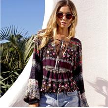 Bohemian Long-sleeved Vintage Printed Top