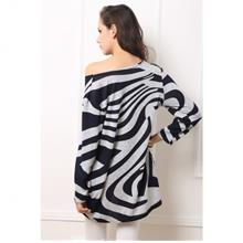 Sensational Zebra Print Inspired Long Sleeves Tunic Blouse Top