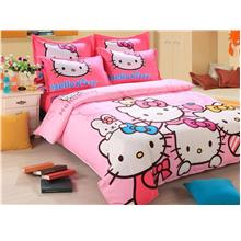 Quality Hello Kitty Queen King Bedsheet Set with Quilt Cover
