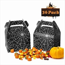 .Asecinc 36pcs Halloween Favor Boxes Large Black Spider Web Candy Boxes Hallow