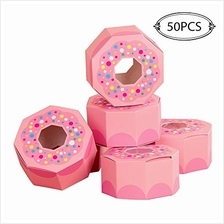 .OurWarm 50Pcs Donut Birthday Favor Boxes Pink Candy Goodie Bags Treat Gift Bo