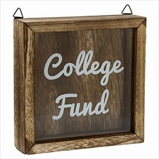 .Bright Creations College Fund Shadow Box Piggy Bank (Dark Wood 7 x 7 Inches).