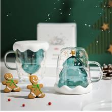 Christmas Tree Double Wall Glass Cup Water Mug Drinkware Glassware