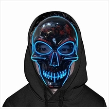 .YZHI Scary Light up Mask Halloween LED Costume Men Adults Kids (Blue C).