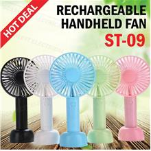 ST-09 Mini Handheld Fan Base USB Rechargeable Portable Cooler 3 Speeds