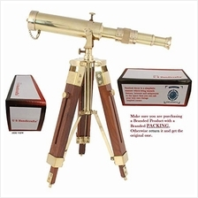 .US HANDICRAFTS Vintage Brass Telescope on Tripod Stand use DF Lens Antique De