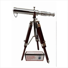 .US HANDICRAFTS Vintage Brass Nickle Telescope on Tripod Stand/Chrome Desktop