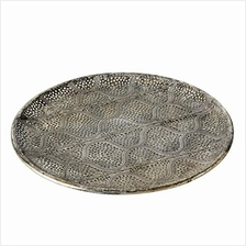 .WHW Whole House Worlds Ikat Lattice Round Metal Tray Decorative Metal Serving