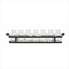.Creative Co-op 7 Glass Bottles on Rectangle Metal Tray with Handles (Set of 8