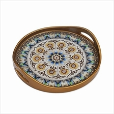 .NOVICA Blue and White Reverse Painted Glass Round Tray Blue Andean Mandala'.