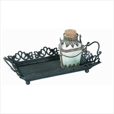 .Creative Co-op Decorative Rust Metal Tray with Handles.