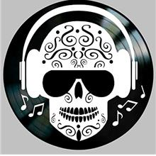 .Day of The Dead Sugar Skull with headphones on a Vinyl Record Wall Decor.