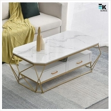 Luxury Modern Marble Coffee Table with Drawers (1 month pre-order)