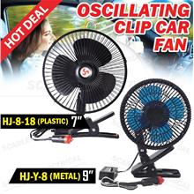 Oscillating Clip Car Fan 12V DC Portable Vehicle Cooler Metal/Plastic
