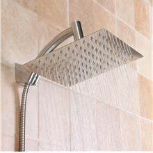 Square 8 Inch Rainfall Shower Head Extension with Shower Arm Hose Kit ..