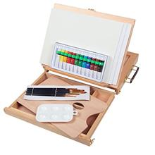 .Falling in Art Acrylic Painting Set with Table Easel Drawer Canvas Panels Bru