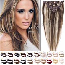 7pcs/set Ombre Color Straight Silky Hair Extension Clip Heat Resistant