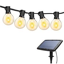 [USA Shipping]Torkase 27ft Solar Powered Globe LED String Lights 27 x G40 Edis