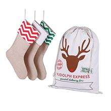 [USA Shipping]3 Pack Natural Burlap Christmas Stockings for Classic Holiday De