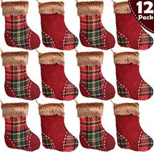 [USA Shipping]Partybus Mini Christmas Stockings Rustic Plaid Plush Cuff Xmas T