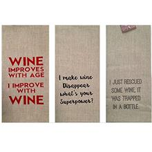 [USA Shipping]Set of 3 Linen Wine Kitchen Towels - Wine Lovers Gifts Set Comes