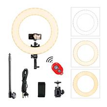 [From USA]MountDog 18'' LED Ring Light with Phone Adapter Dimmable Bluetooth R