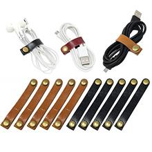 [From USA]10 Pcs Leather Cable Straps Cable Tie Wraps Cord Management Holder K